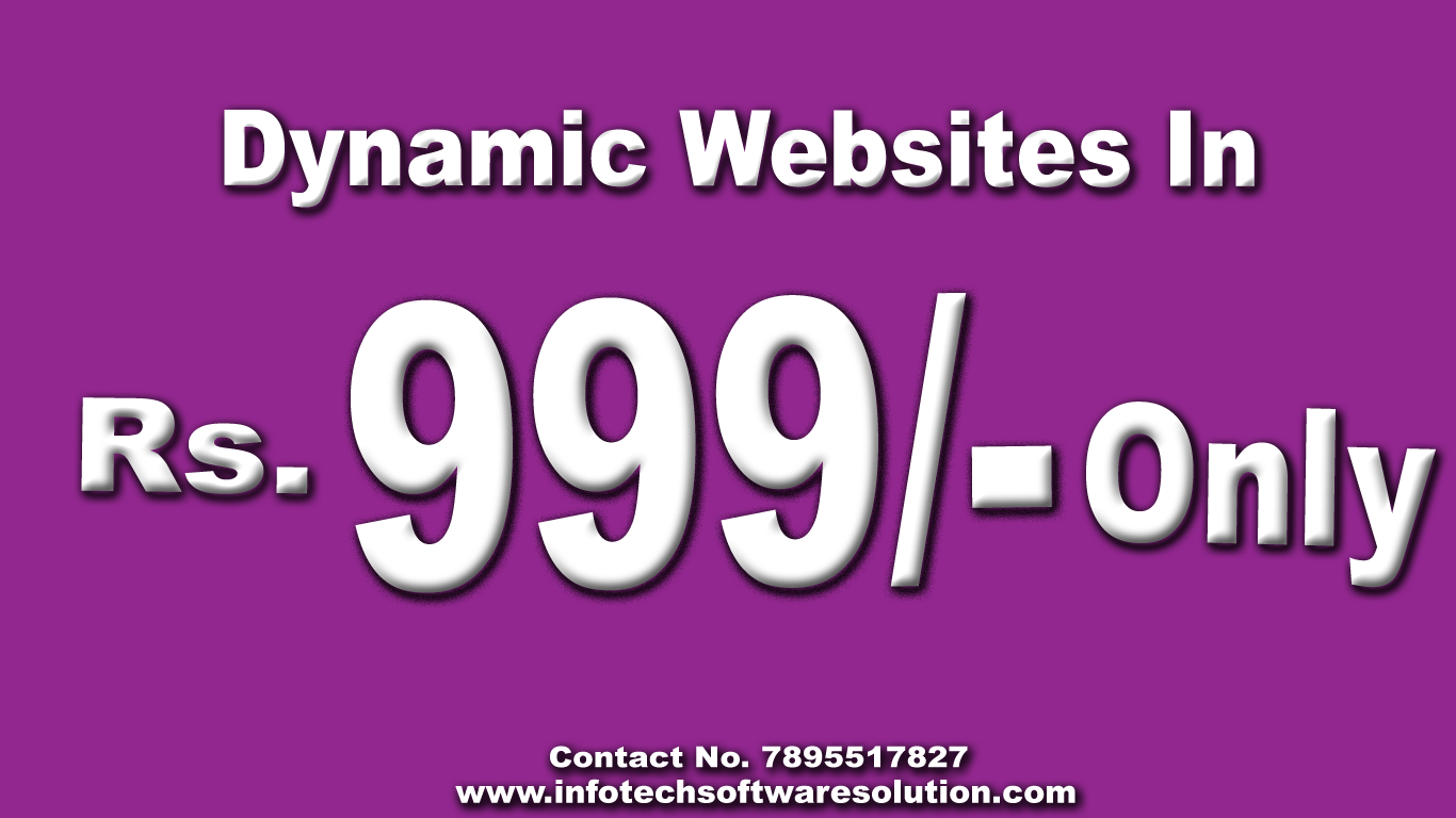 Dynamic Website designing and development  pune in 999/- Only